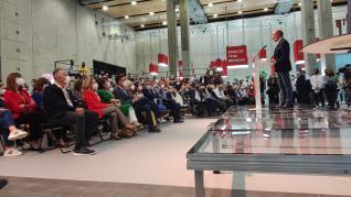 El presidente aragonés. Javier Lambán. participa en el Congreso del PSOE.