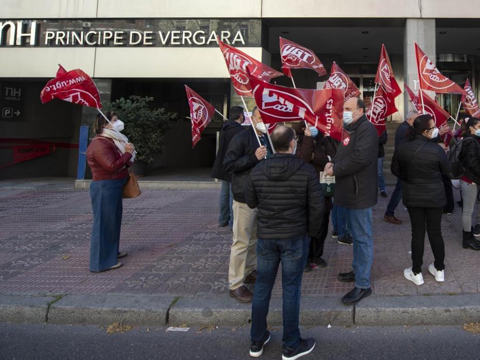 Protesta este miércoles ante el hotel NH Príncipe de Vergara de Madrid, que ha presentado un ERE.