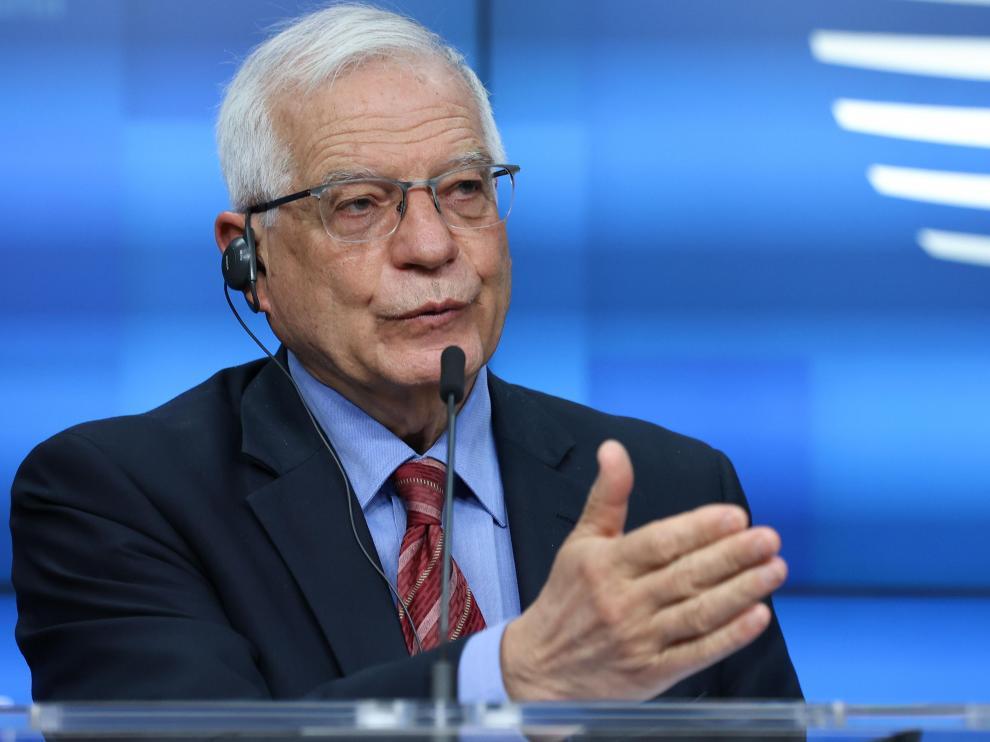 El jefe de la Diplomacia Europea, Josep Borrell, en una rueda de prensa en Bruselas tras una reunión de ministros de Exteriores.