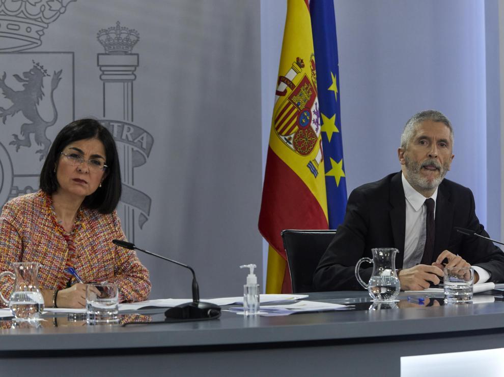 Carolina Darias y Fernando Grande-Marlaska durante su intervención de este miércoles.