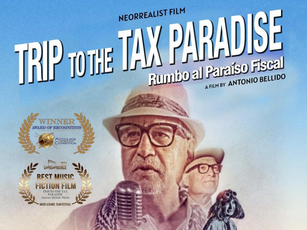 Cartel de 'Rumbo al paraíso fiscal', película muda de Antonio Bellido Marín.