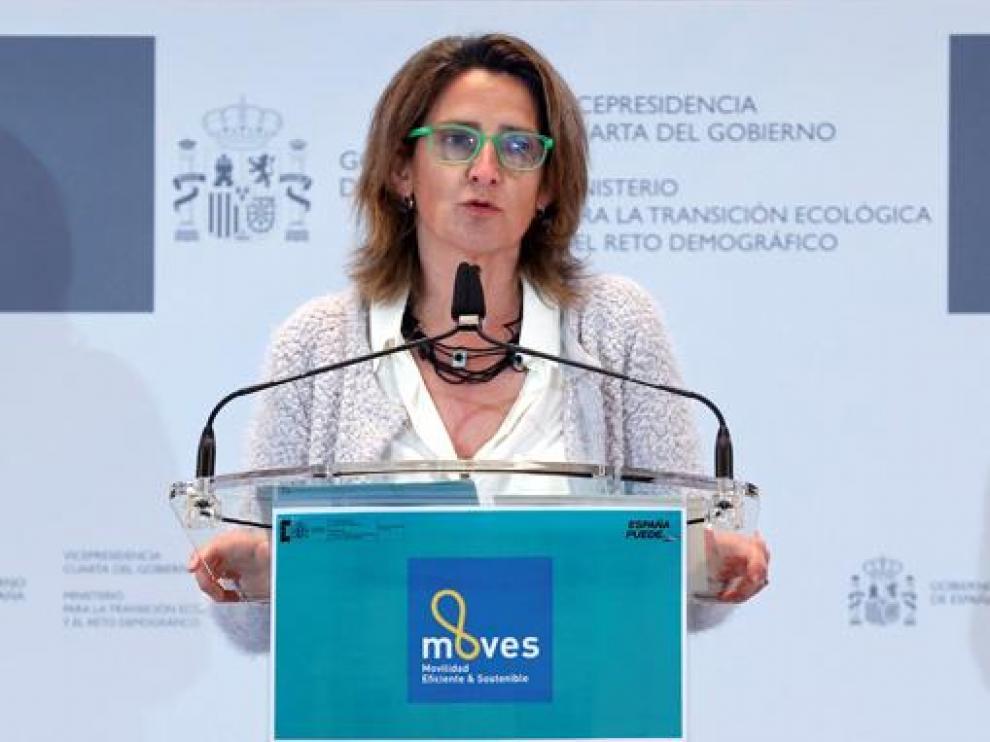 La ministra para la Transición Ecológica, Teresa Ribera, durante la presentación ayer del Programa Moves III.