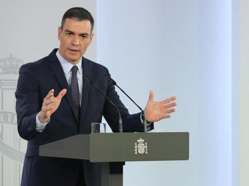 Sánchez, el martes durante la presentación del Plan del Recuperación tras el Consejo de Ministros.