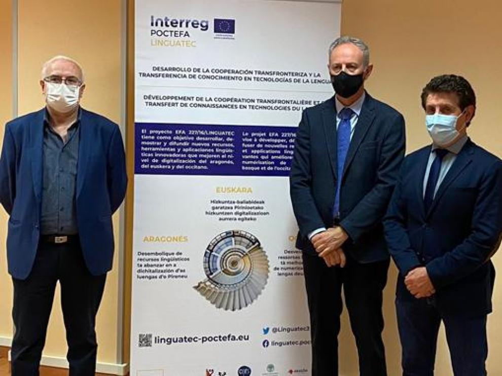 José Ignacio López Susín, Luis Estaún y Alfonso Salillas, este martes en Jaca.
