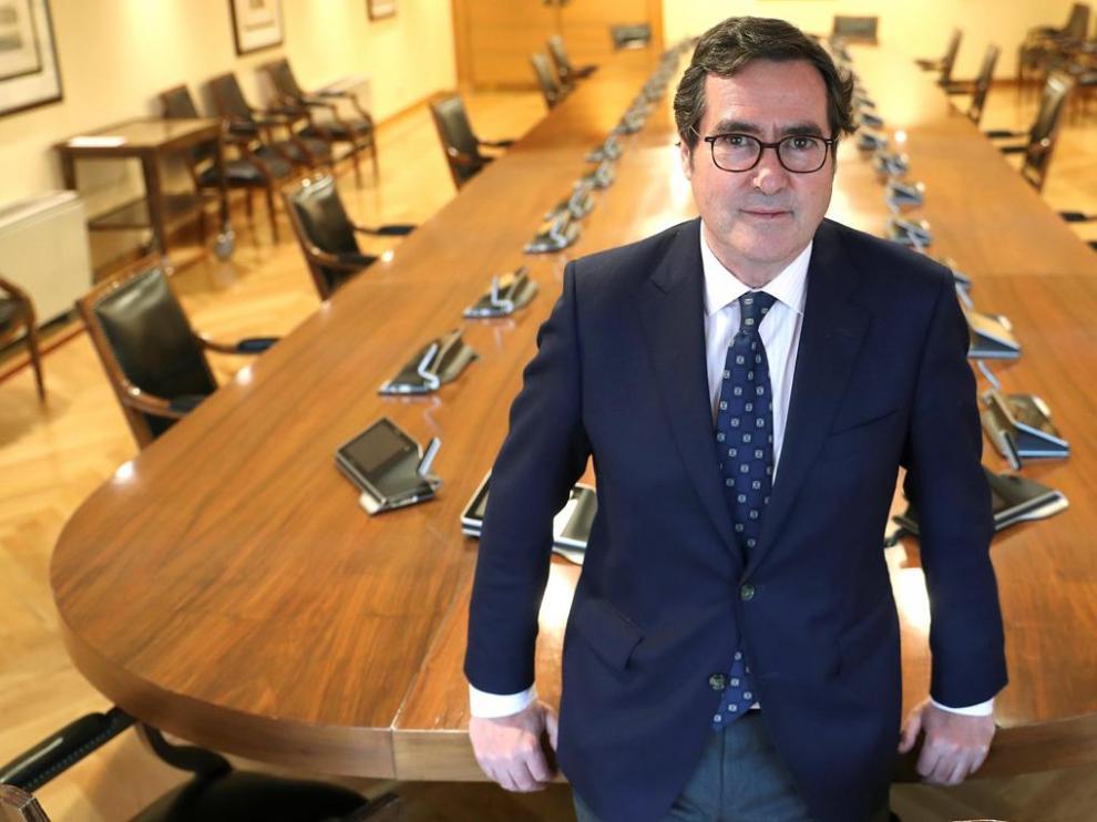 Antonio Garamendi en la sede de la CEOE en Madrid.