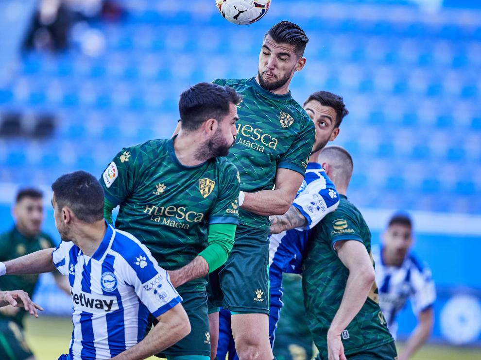 during the Spanish league, La Liga Santander, football match played between Deportivo Alaves and SD Huesca at Mendizorroza stadium on April 18, 2021 in Vitoria, Spain.
