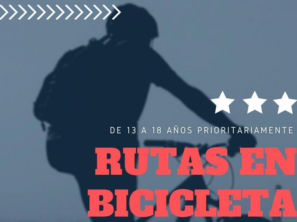 Cartel de las rutas ciclistas organizadas por el Ayuntamiento de Huesca.