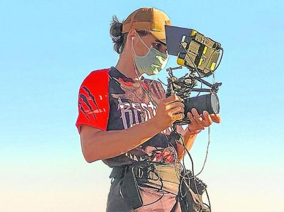 Adrián Foj, durante la grabación de este documental.