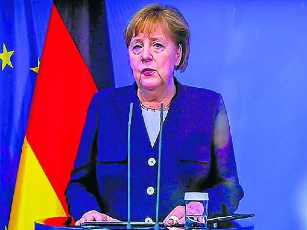 Angela Merkel, durante su participación en una videoconferencia.