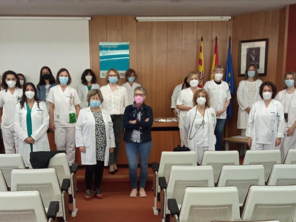 Enfermeras del Hospital de Barbastro en la presentación del vídeo de Ángela Martínez.