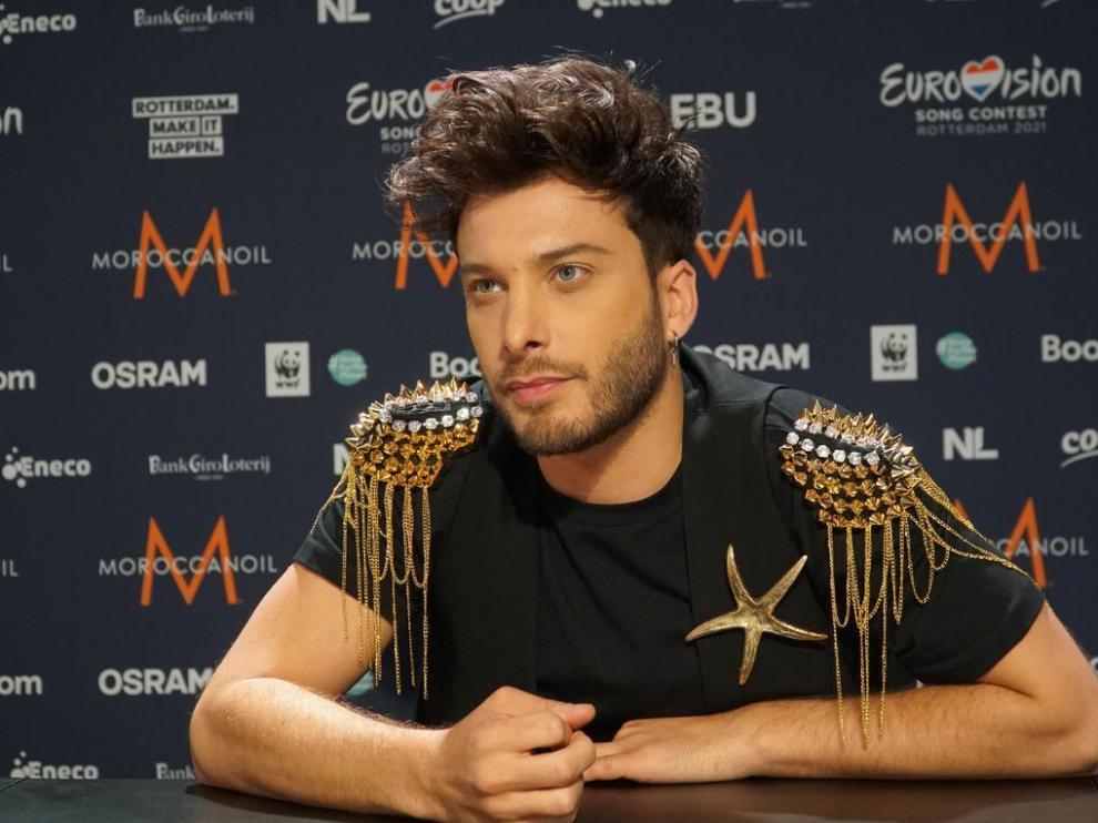 Blas Cantó, en un encuentro con los medios en Róterdam, donde mañana se celebra Eurovisión.