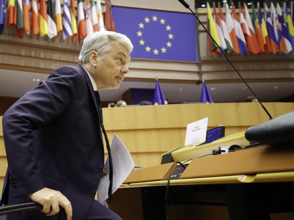 El comisario de Justicia de la Unión Europea, Didier Reynders, este jueves en un debate en la Cámara en Bruselas
