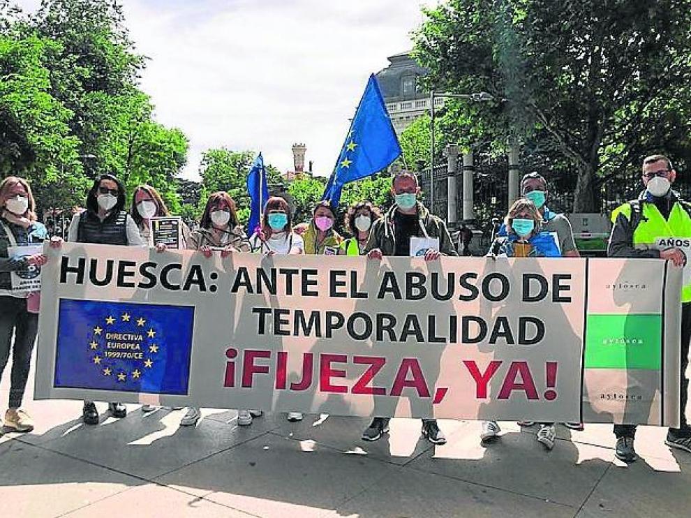 Parte de la delegación altoaragonesa que participó en la manifestación celebrada ayer en Madrid.