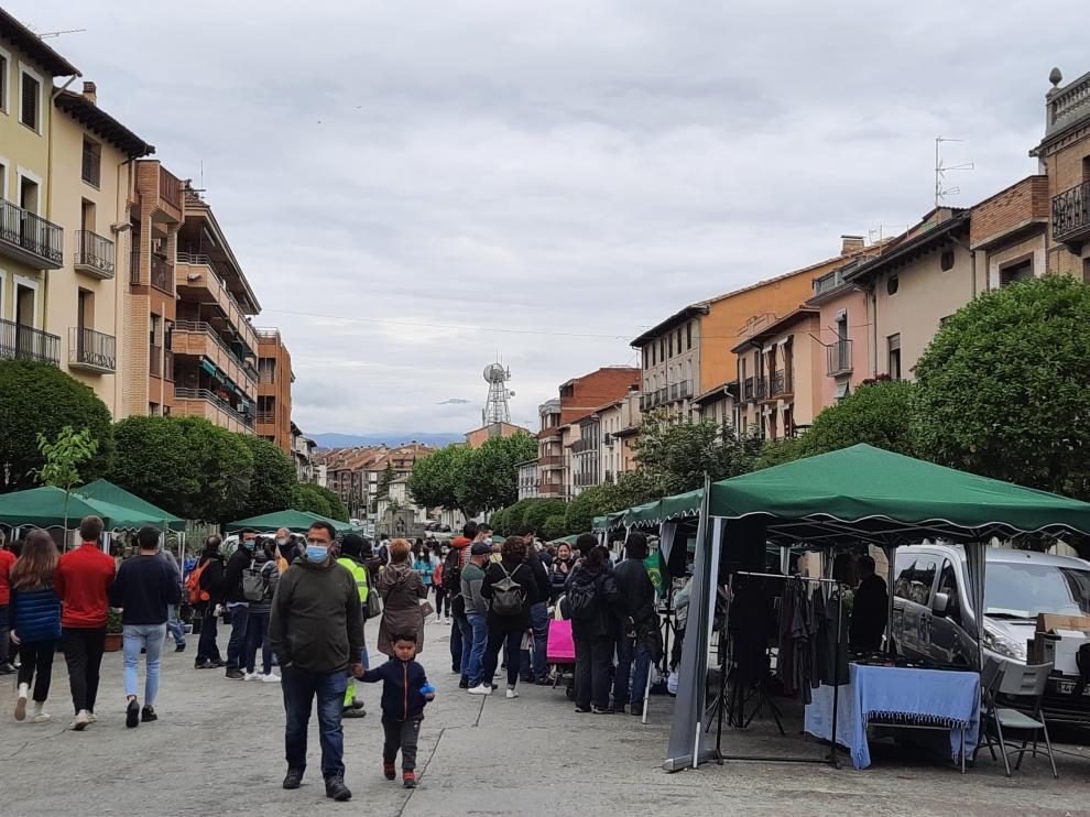Imagen de una calle de Graus durante la jornada de ayer.