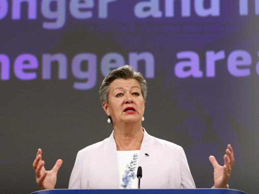 La comisaria europea de Interior, Ylva Johansson, ayer durante la rueda de prensa.