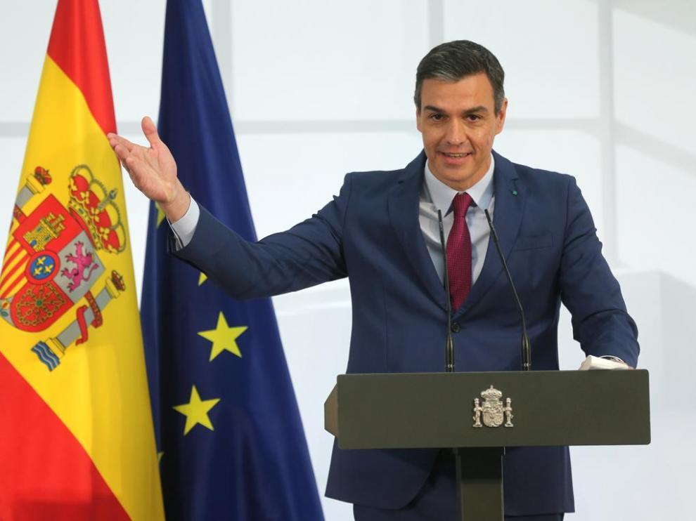 El presidente del Gobierno, Pedro Sánchez, durante un acto de homenaje a la comunidad educativa, en La Moncloa el19 de junio