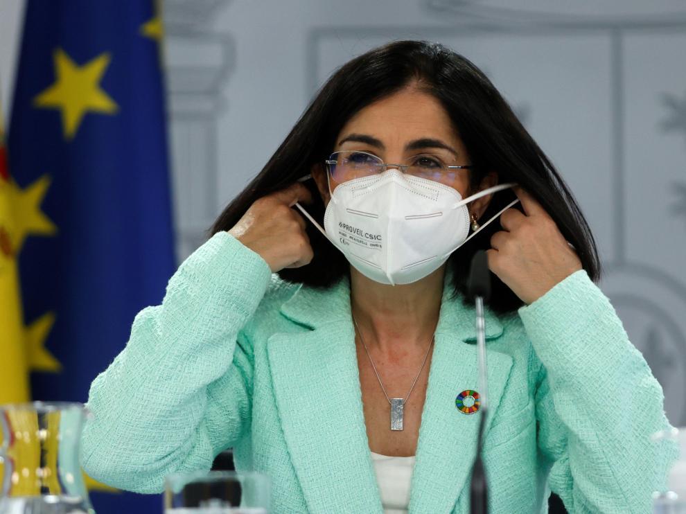 Carolina Darias durante la rueda de prensa