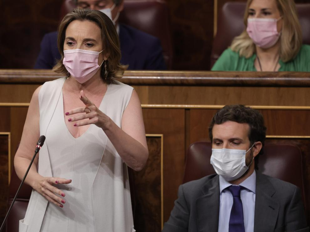 Cuca Gamarra, portavoz del PP en el Congreso, en el pleno de control al Gobierno este miércoles