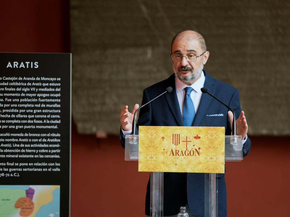Lambán este jueves en un acto sobre patrimonio en Zaragoza.