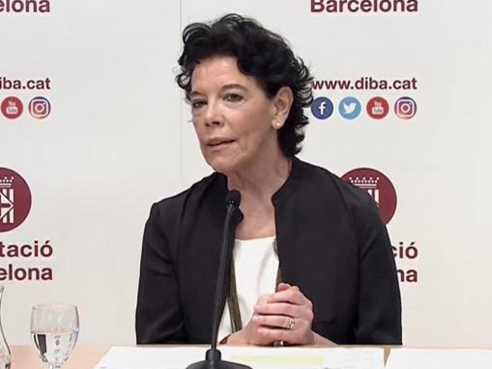 La ministra de Educación, Isabel Celaá, este jueves durante el seminario sobre la Lomloe organizado en Barcelona.