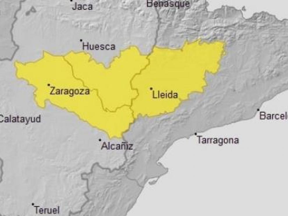 Mapa de las zonas afectadas por la ola de calor.