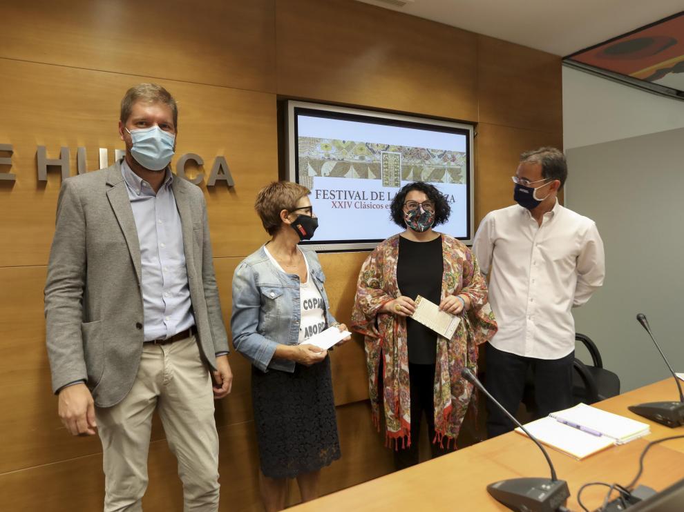 Marcel Iglesias, Maribel de Pablo, Gemma Betorz y Santiago Lleida en la presentación del 24 Festival Clásicos en la frontera