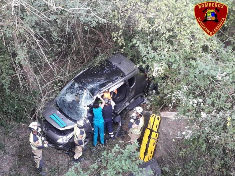 Durante las tareas de rescata esta mañana en El Frago