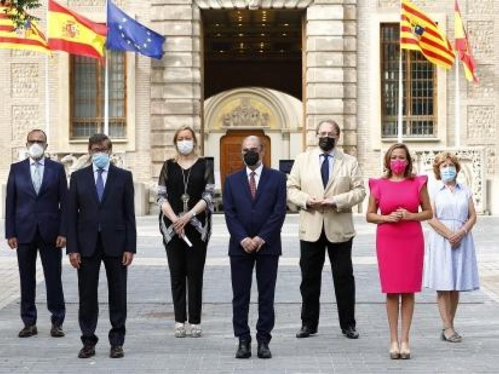 El ejecutivo aragonés durante el acto de balance
