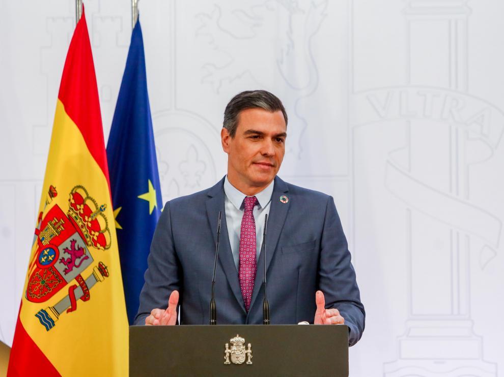 Pedro Sánchez durante la rueda de prensa de este jueves