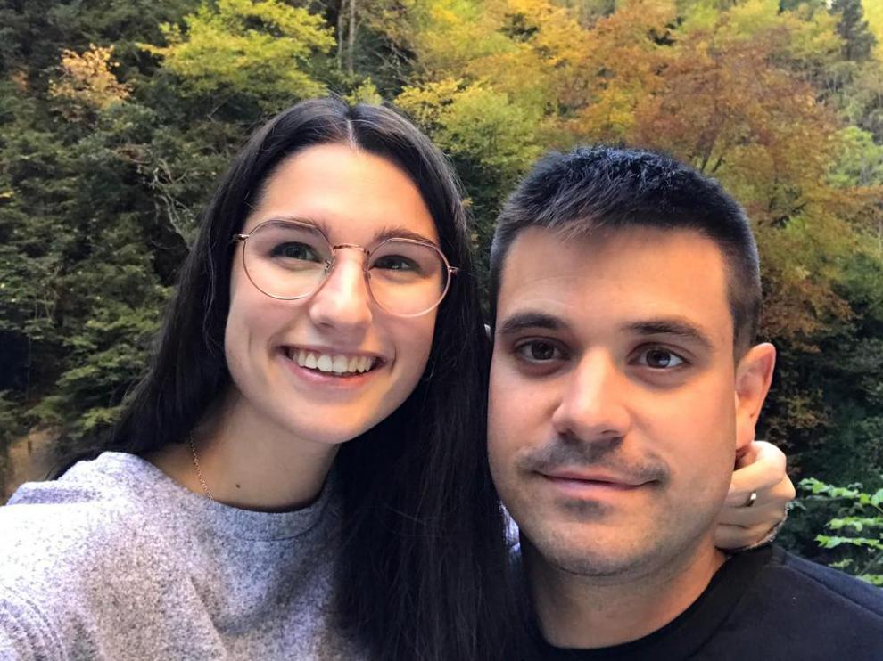 Los jóvenes vecinos de Albalate Eloy Abenoza y Anna Oliván