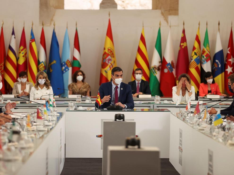 Imagen de Sánchez y otros asistentes en la Conferencia de Presidentes celebrada el viernes en Salamanca.