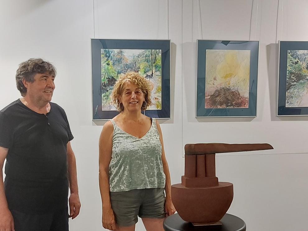 Josep Bamala-Borruel y Pilar Esporrín, en la exposición.