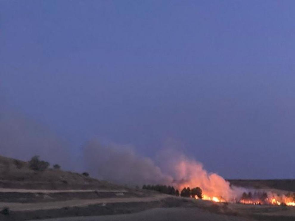 Imagen del incendio que obligó a cortar la A-23