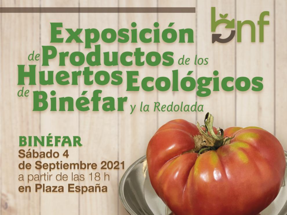 Cartel promocional de la exposición de hortalizas ecológicas en Binéfar
