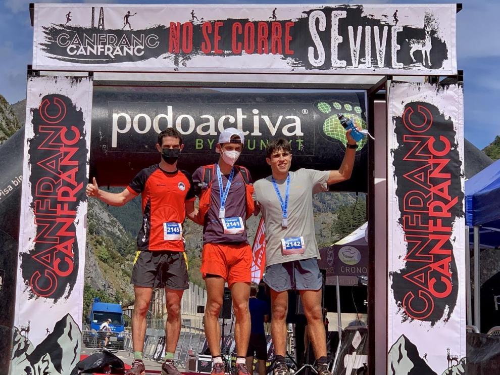 Podio masculino de la Maratón Canfranc-Canfranc, prueba de Copa del Mundo.