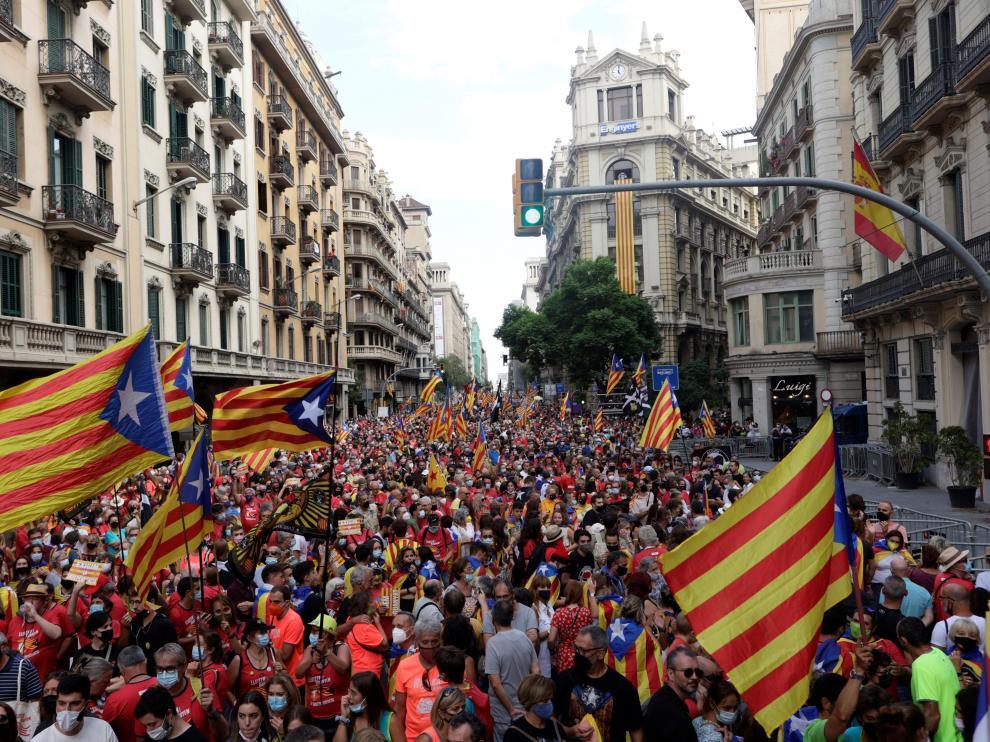 Manifestación convocada por ANC ayer en el centro de Barcelona.