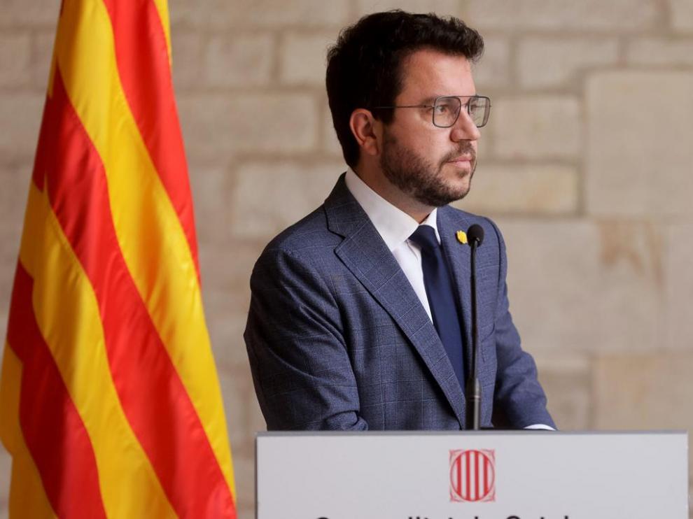 El presidente catalán, Pere Aragonès, aunció la exclusión de Junts de la mesa de diálogo por Cataluña.