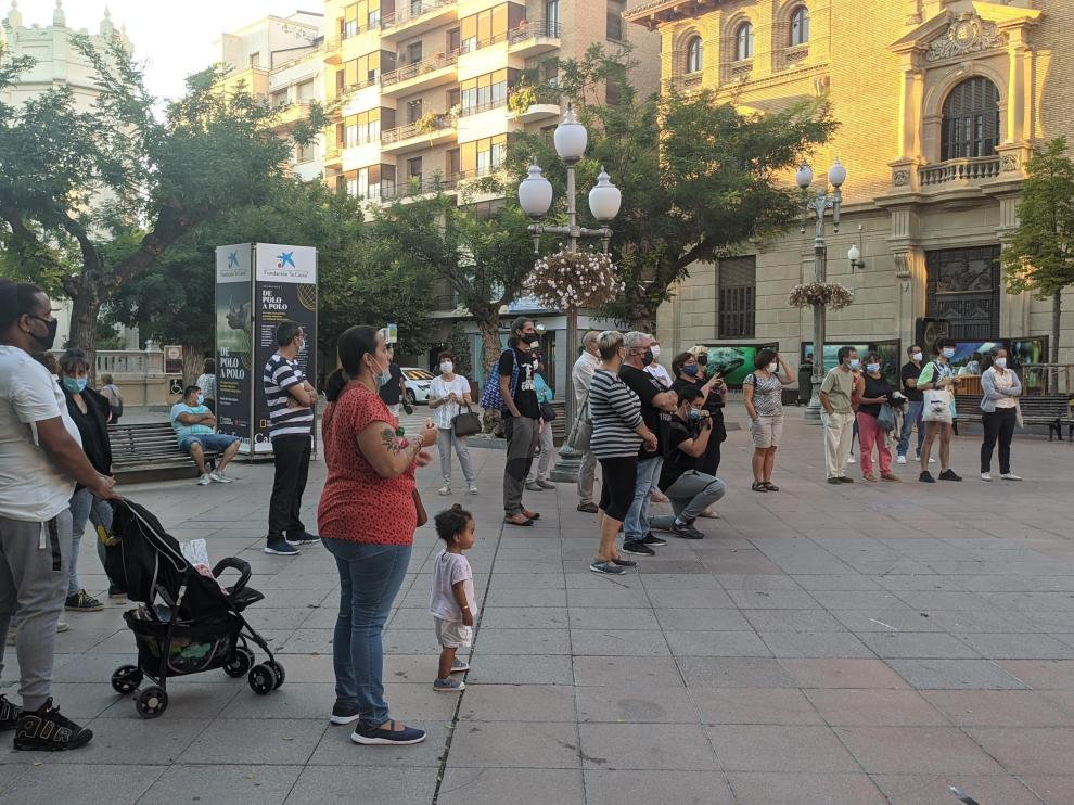 Imagen de la concentración de este jueves en la plaza de Navarra.