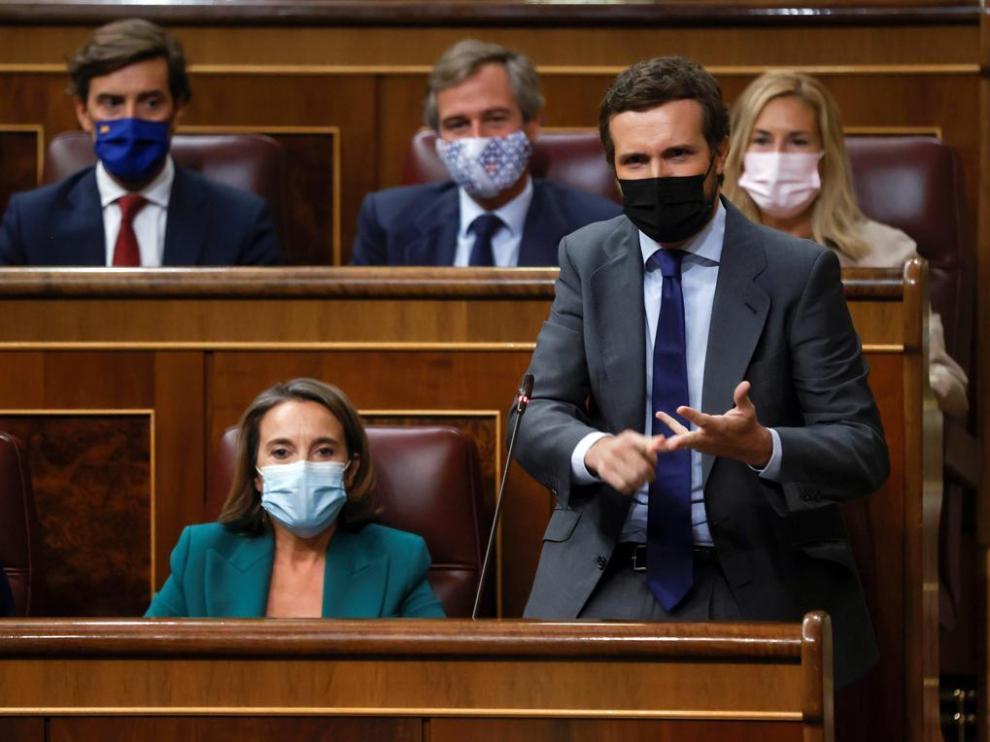 El líder de la oposición, Pablo Casado, durante su intervención en el Congreso el miércoles.