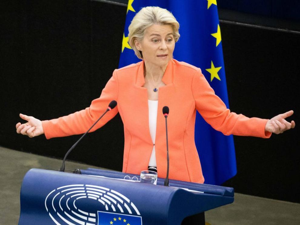 Von der Leyen, el miércoles durante su discurso de balance de gestión de la Comisión Europea.
