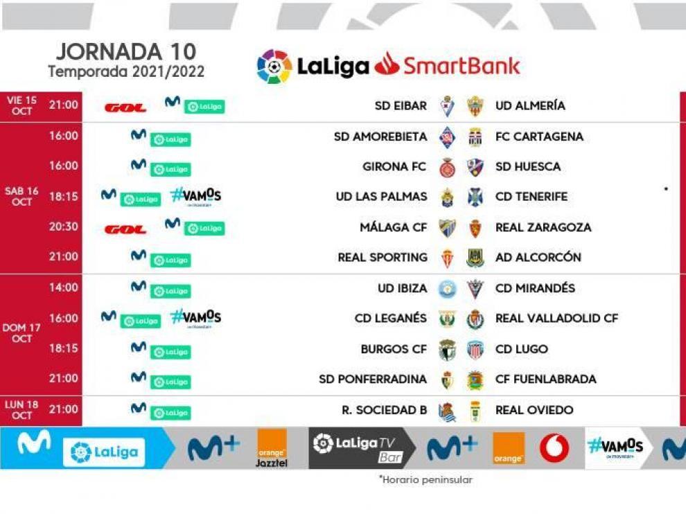 Horarios de la décima jornada de la Liga Smartbank.