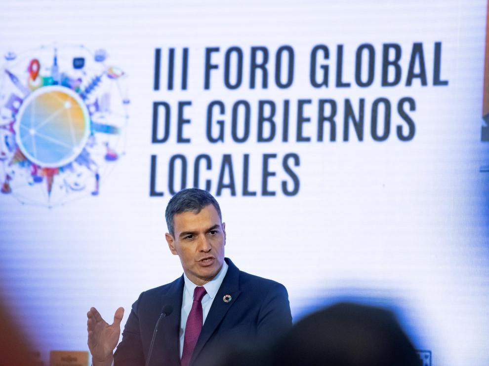 Pedro Sánchez en el acto de inauguración del I Foro Urbano de España.