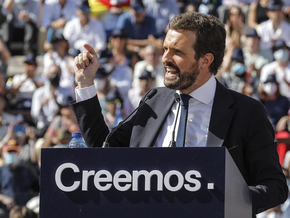 Pablo Casado en un acto en la Plaza de Toros de Valencia.