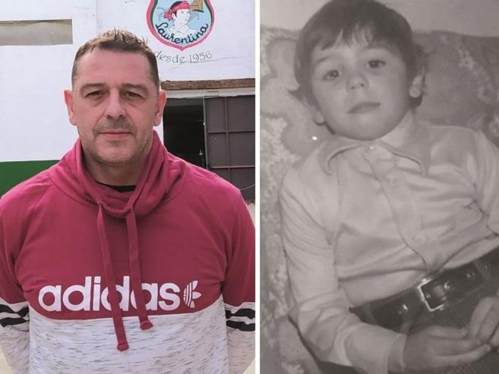 Javier Ibarz en la actualidad y en su infancia.