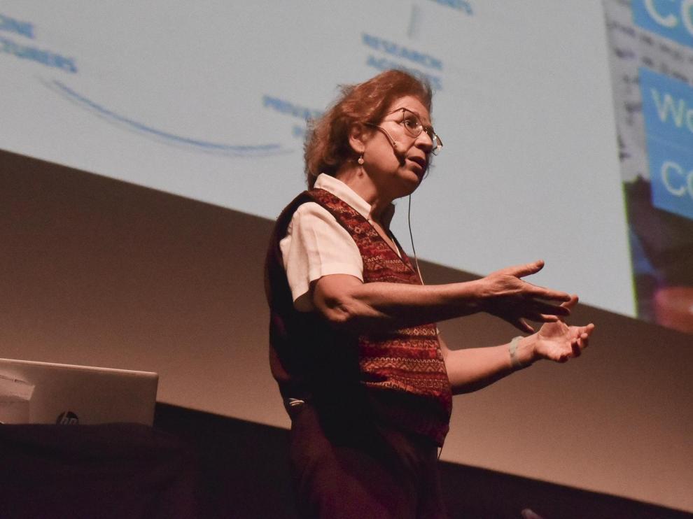 La viróloga, inmunóloga e investigadora Margarita del Val, este miércoles, en el Teatro Olimpia.