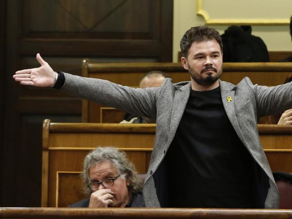 """Rufián: """"Hemos pactado abstención, pero estaremos atentos a las votaciones"""""""