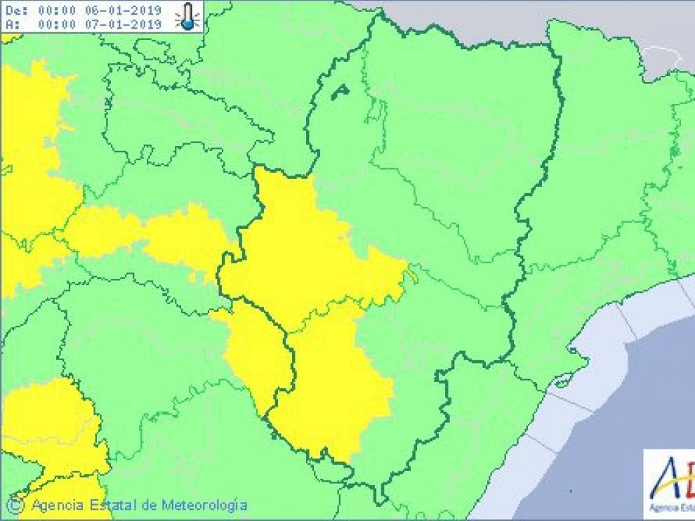 Activada la alerta amarillo por frío intenso en el centro y sur de Huesca