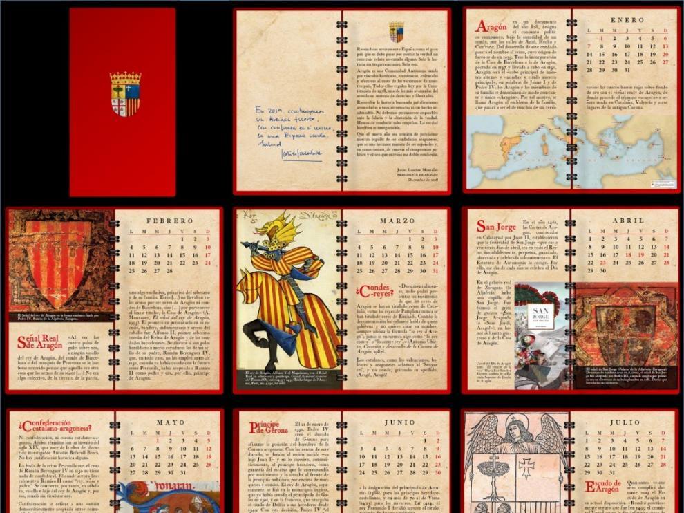 Se edita el calendario sobre la historia de Aragón que formaba parte de la felicitación de Javier Lambán