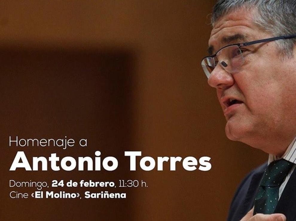 Homenaje a Antonio Torres este domingo en Sariñena