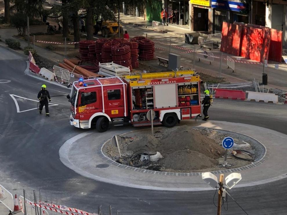 Susto al producirse un escape de gas en las obras del paseo Ramón y Cajal de Huesca
